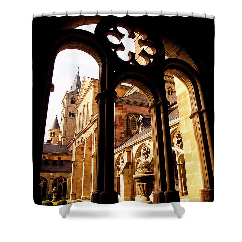 Architecture Shower Curtain featuring the photograph Cathedral Of Trier Window by Steven Myers