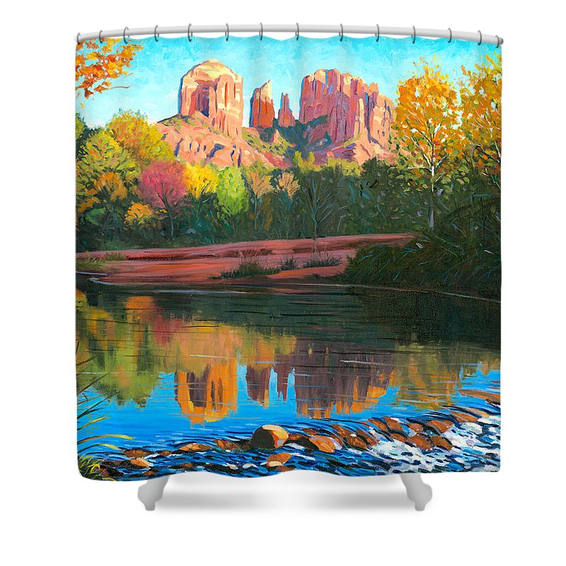Oak Creek Shower Curtain featuring the painting Cathedral Rock - Sedona by Steve Simon