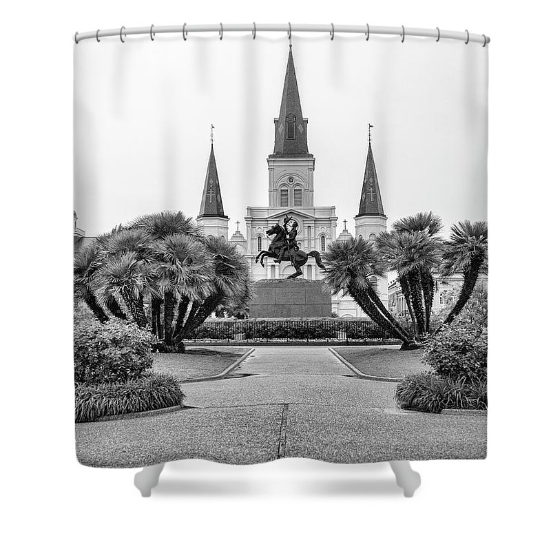Andrew Jackson Shower Curtain featuring the photograph Catholic Basilica Jackson Sq Andrew Jackson New Orleans by Chuck Kuhn
