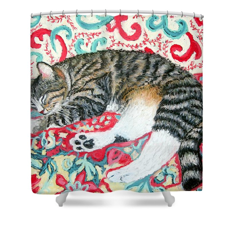 Cat Shower Curtain featuring the painting Catnap Time by Minaz Jantz