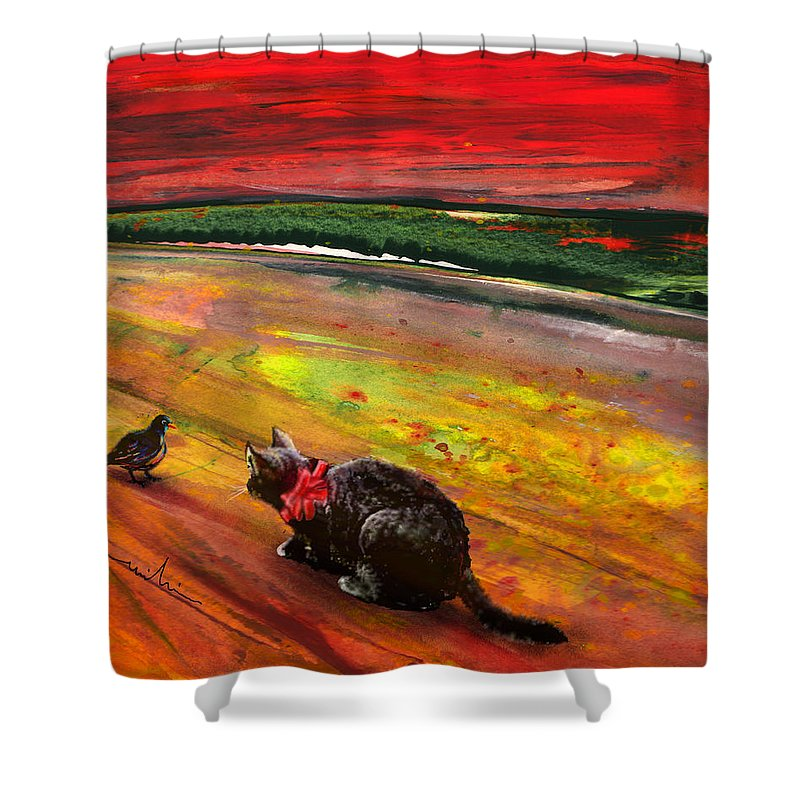 Cats Shower Curtain featuring the painting Catpivated by Miki De Goodaboom
