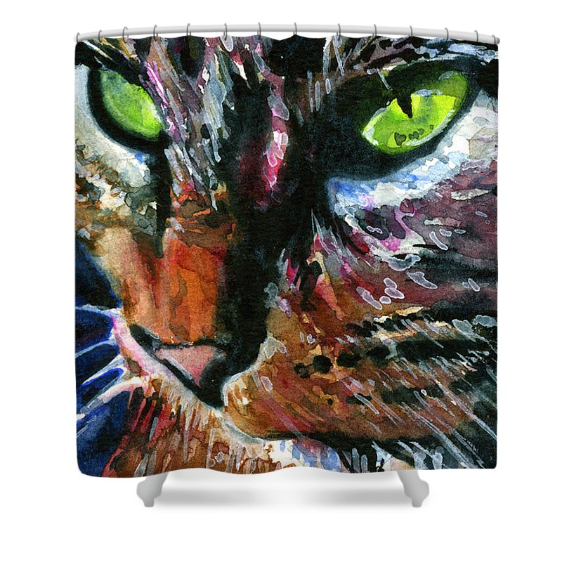 Cats Shower Curtain featuring the painting Cats Eyes 11 by John D Benson