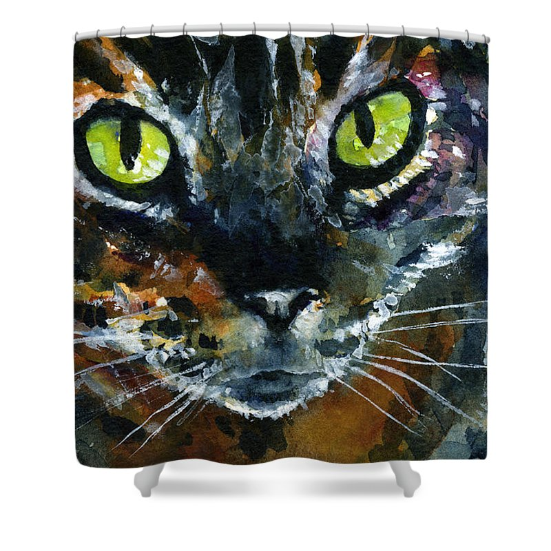 Eyes Shower Curtain featuring the painting Cats Eyes 16 by John D Benson