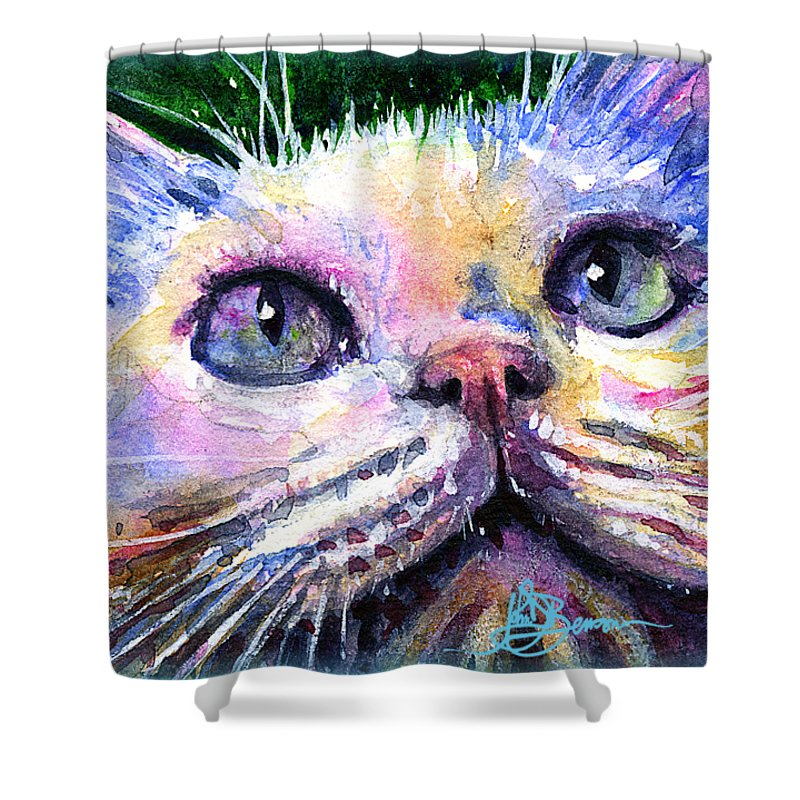 Watercolor Shower Curtain featuring the painting Cats Eyes 2 by John D Benson