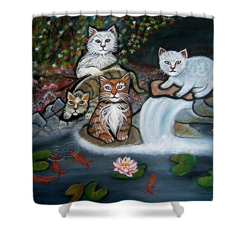 Acrylic Art Landscape Cats Animals Figurative Waterfall Fish Trees Shower Curtain featuring the painting Cats In The Wild by Manjiri Kanvinde