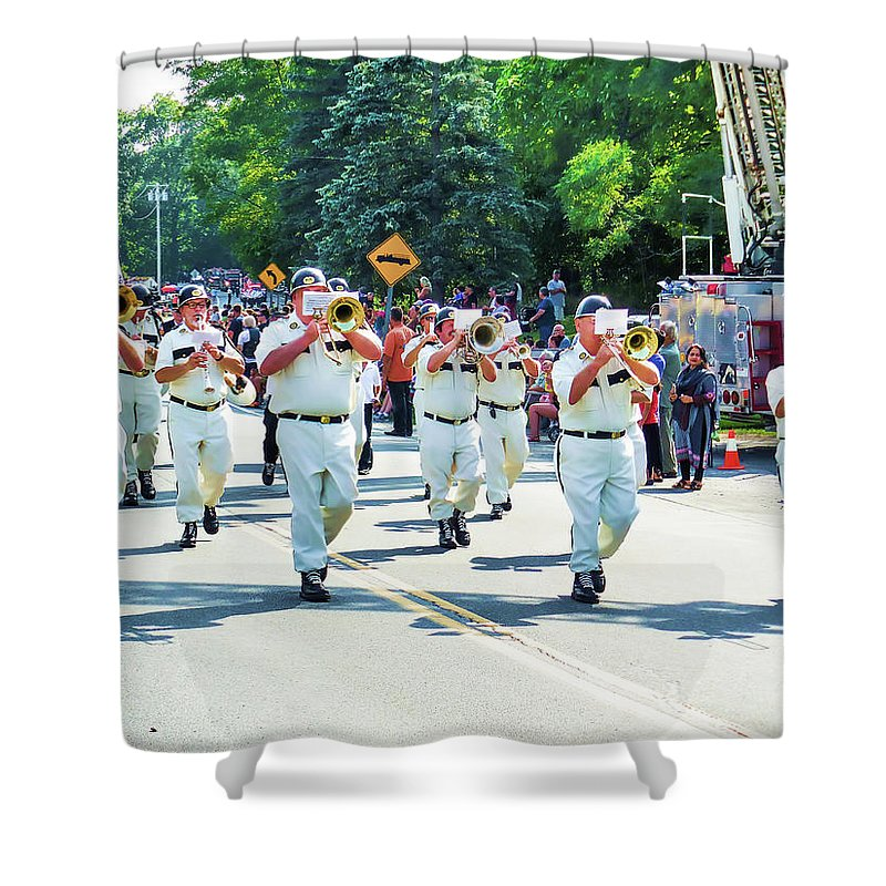 Catskill Fire Co. Shower Curtain featuring the painting Catskill Fire Co.,inc 3 by Jeelan Clark