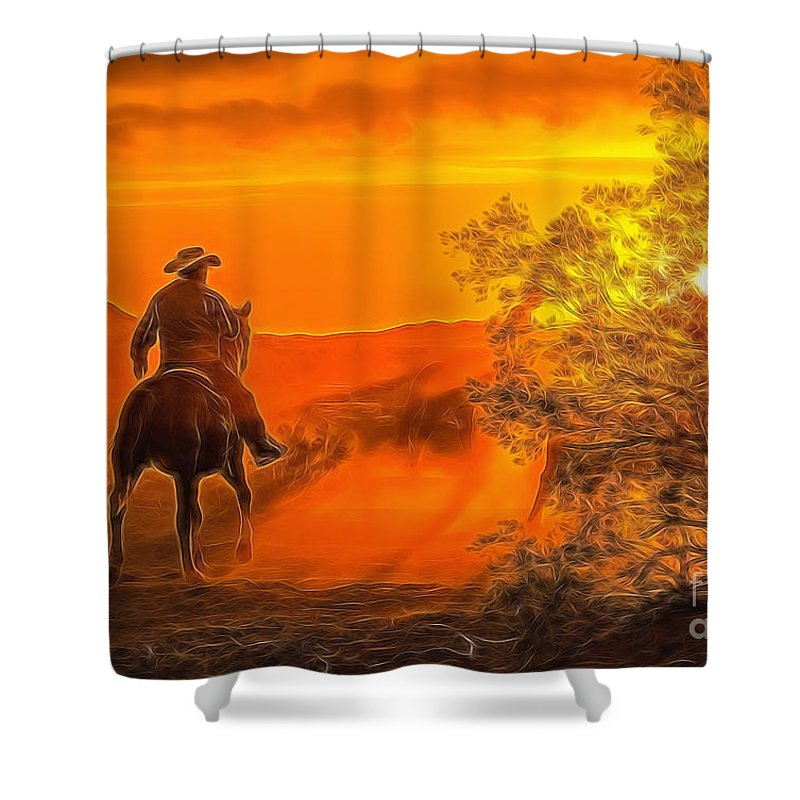 Cattle Drive Shower Curtain featuring the photograph Cattle Drive 45 by Larry White