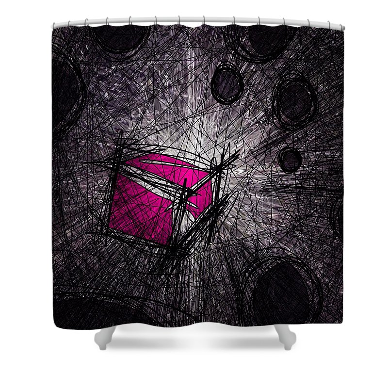 Abstract Shower Curtain featuring the digital art Caught In A Web by Rachel Christine Nowicki