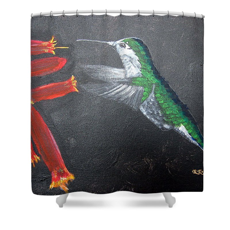 Hummingbird Shower Curtain featuring the painting Caught In The Flash by Richard Le Page