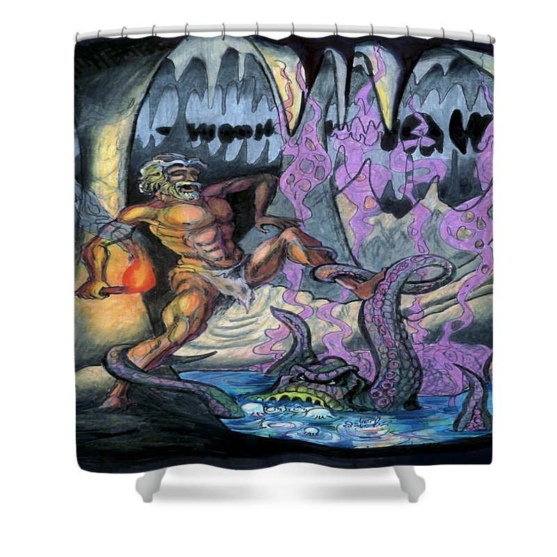 Cave Shower Curtain featuring the painting Cave Creature by Kevin Middleton
