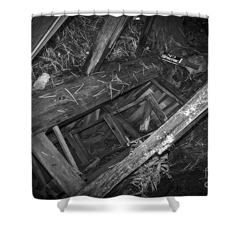 Abandoned Shower Curtain featuring the photograph Caved Audit by Daniel Brunner