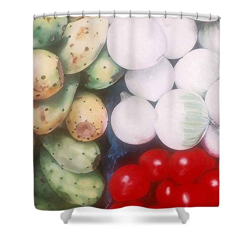 Hyperrealism Shower Curtain featuring the painting Cebollas Tunas Y Tomates by Michael Earney
