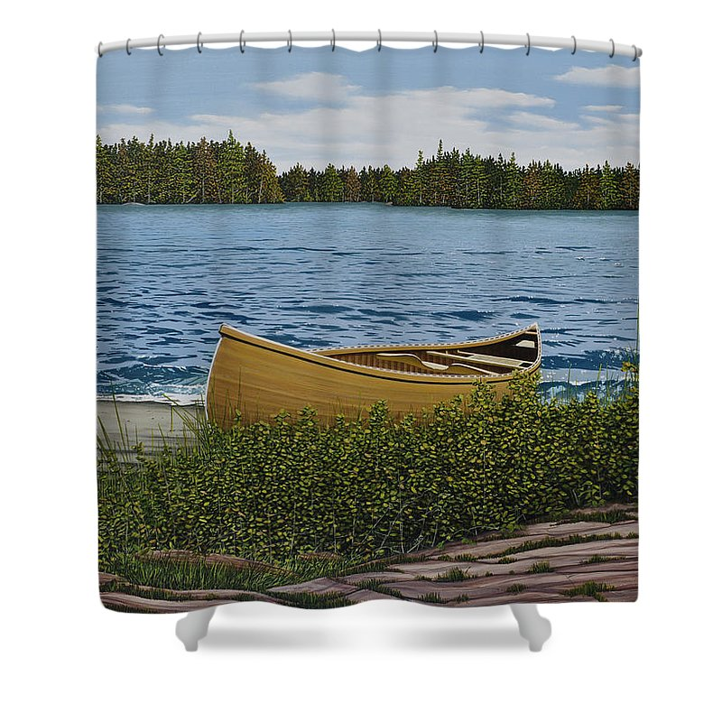 Landscapes Shower Curtain featuring the painting Cedar Canoe by Kenneth M Kirsch