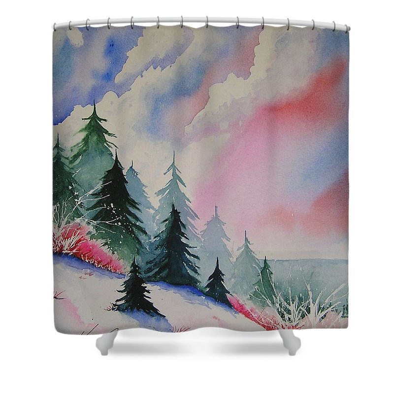 Snow Shower Curtain featuring the painting Cedar Fork Snow by Karen Stark