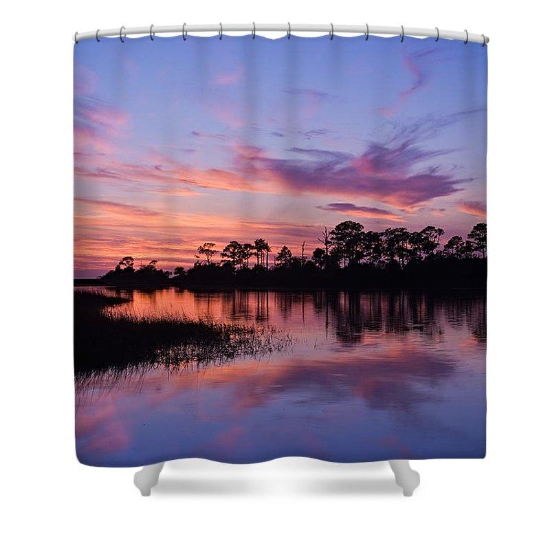 Sunset Shower Curtain featuring the photograph Cedar Key Sunset by Terry Wieckert