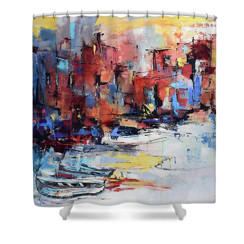 Cefalu Shower Curtain featuring the painting Cefalu Seaside by Elise Palmigiani