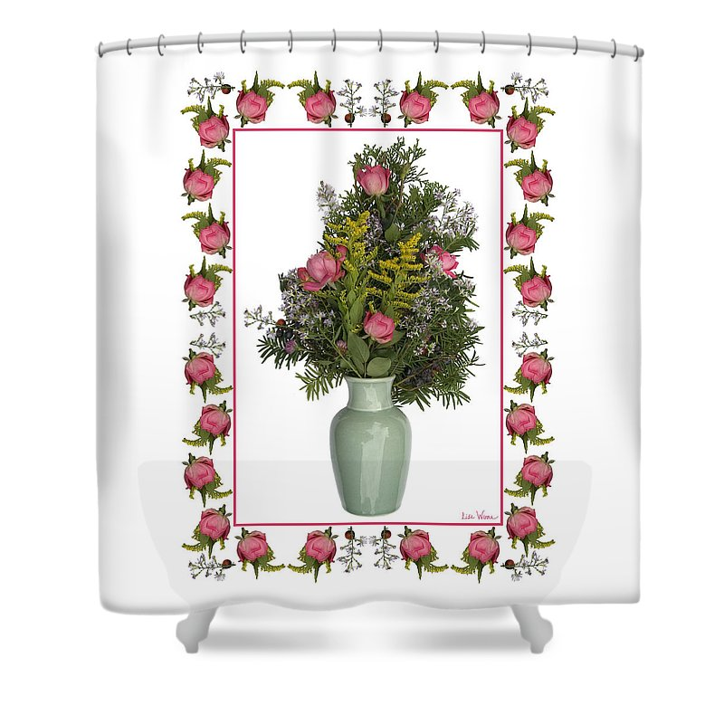 Lise Winne Shower Curtain featuring the mixed media Celadon Vase With Goldenrod by Lise Winne