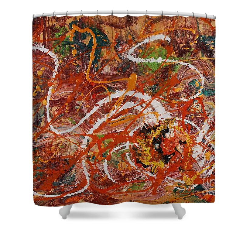 Orange Shower Curtain featuring the painting Celebration II by Nadine Rippelmeyer