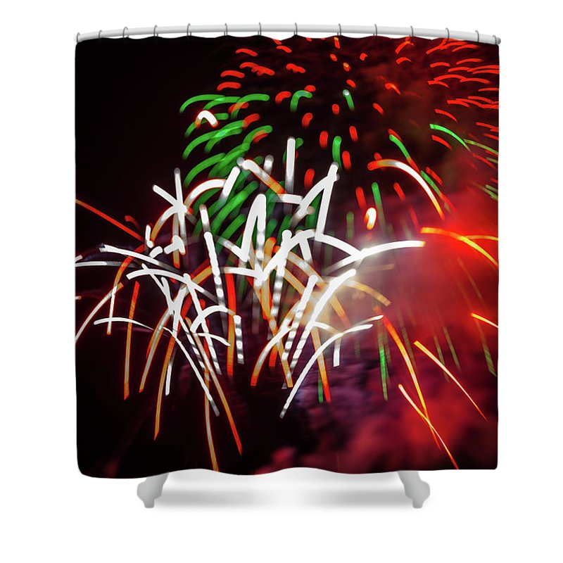 Fireworks Shower Curtain featuring the photograph Celebration Through The Lens Baby by Scott Campbell