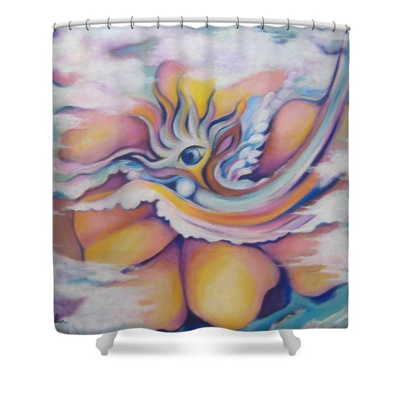 Surreal Artwork Shower Curtain featuring the painting Celestial Eye by Jordana Sands