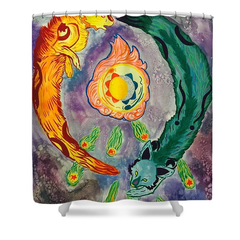 Item Shower Curtain featuring the painting Celestial Fox Alignment by AmaSepia Gittens-Jones' Fox And Fantasy Designs