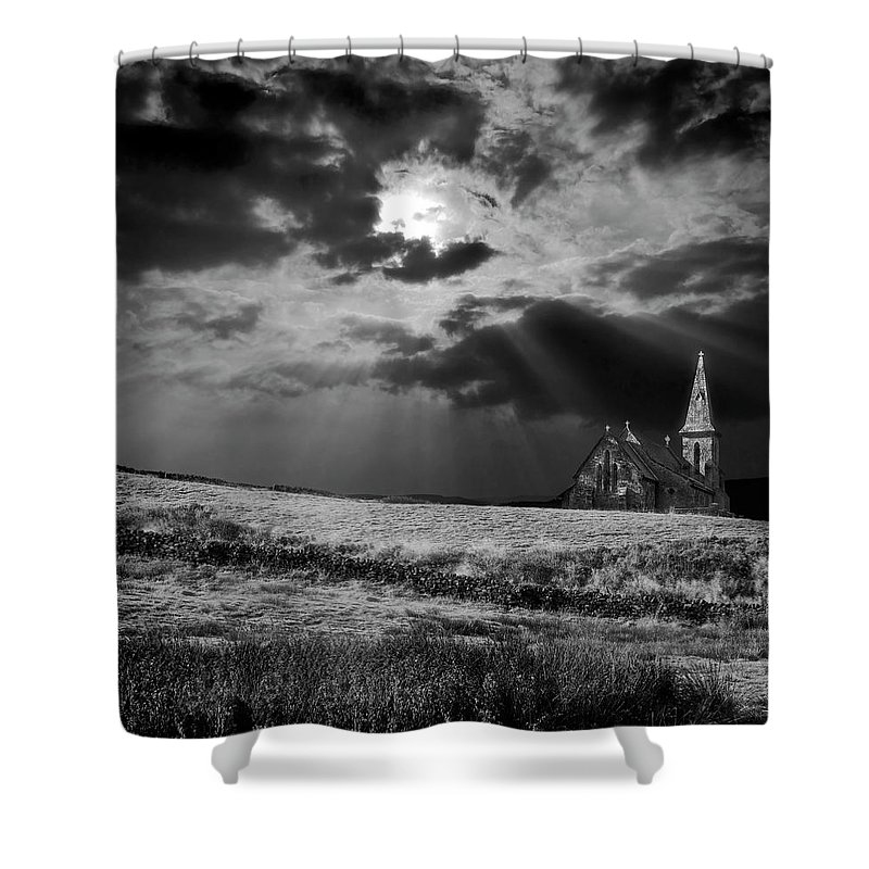 Church Shower Curtain featuring the photograph Celestial Lighting by Meirion Matthias