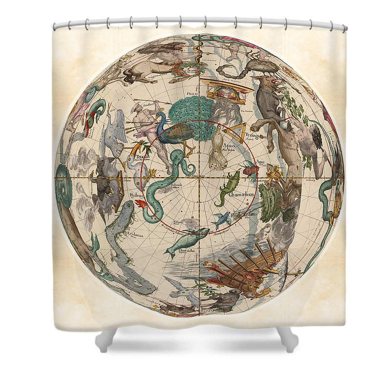 Celestial Map Shower Curtain Featuring The Drawing