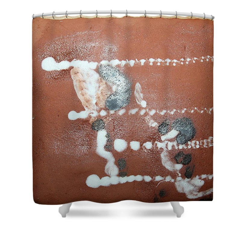 Jesus Shower Curtain featuring the ceramic art Celia And Brian - Tile by Gloria Ssali