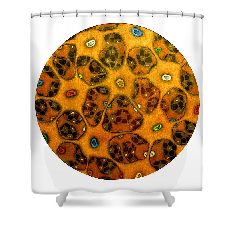 Cells Shower Curtain featuring the drawing Cell Network by Nancy Mueller
