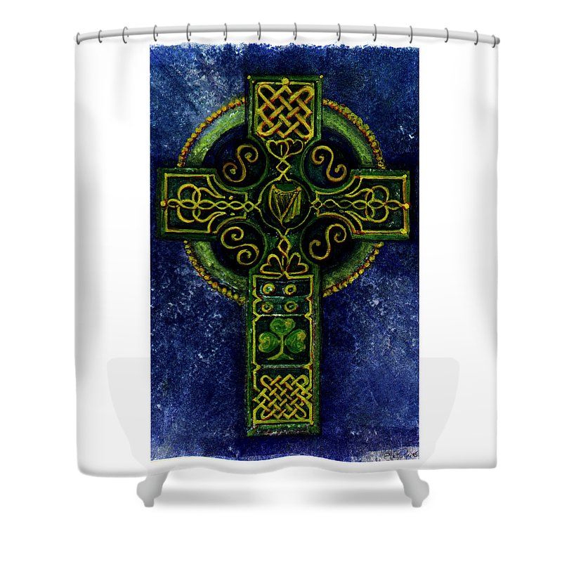 Elle Fagan Shower Curtain featuring the painting Celtic Cross - Harp by Elle Smith Fagan