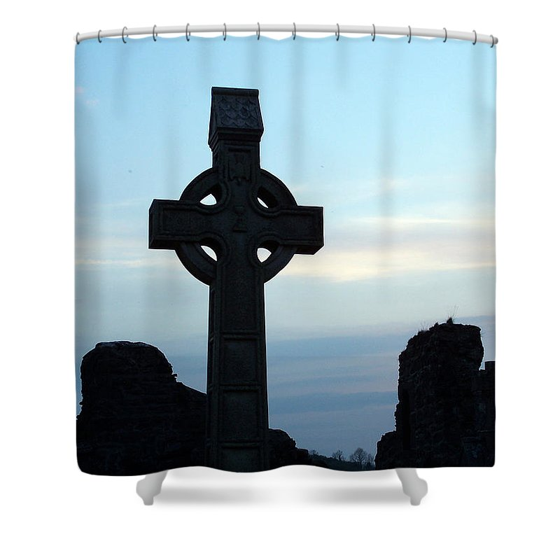 Irish Shower Curtain featuring the photograph Celtic Cross At Sunset Donegal Ireland by Teresa Mucha