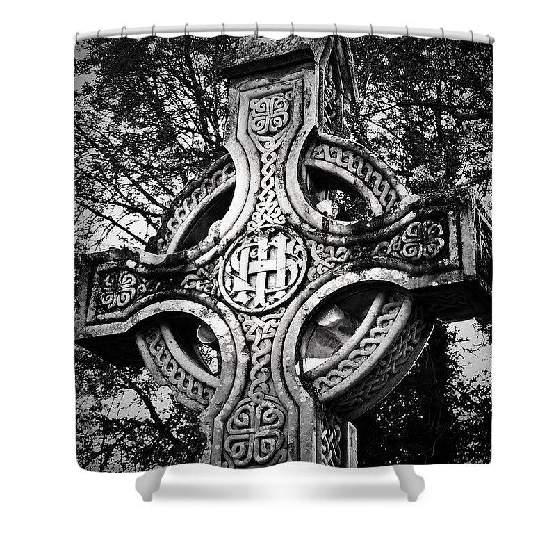 Irish Shower Curtain featuring the photograph Celtic Cross Detail Killarney Ireland by Teresa Mucha