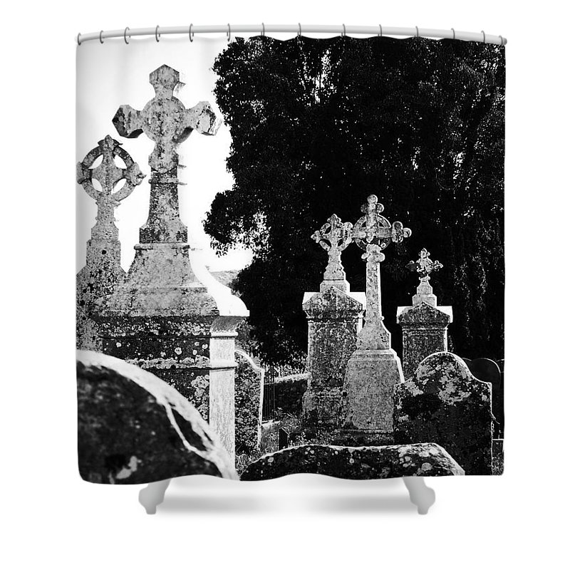 Celtic Shower Curtain featuring the photograph Celtic Crosses At Fuerty Cemetery Roscommon Ireland by Teresa Mucha