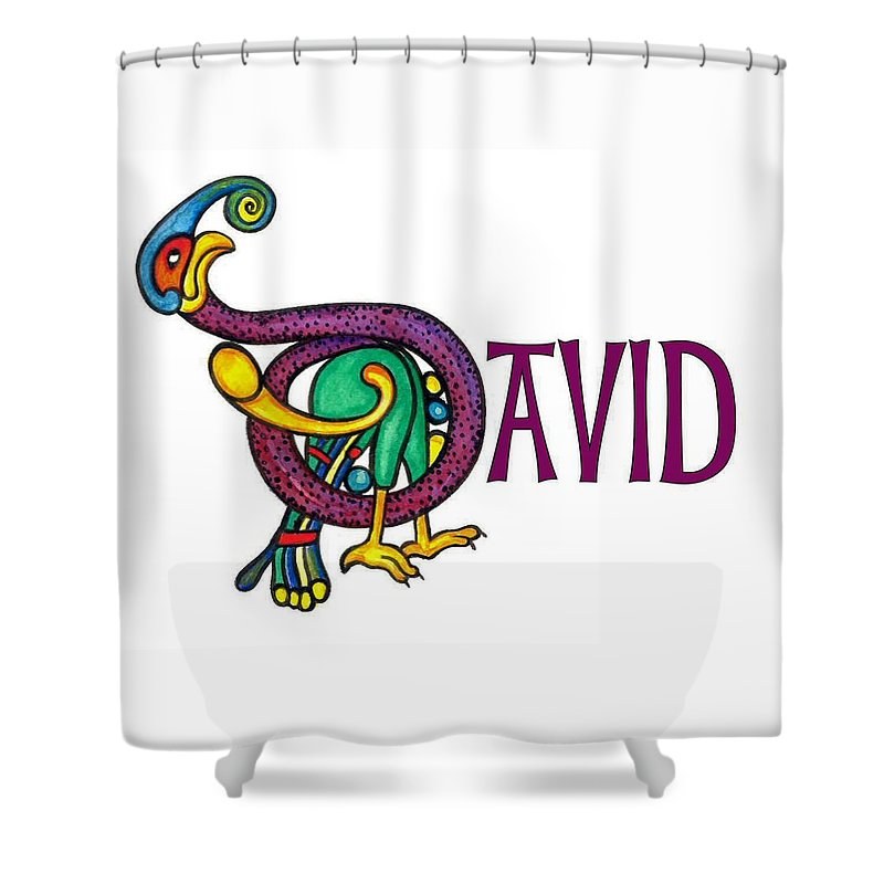 Celtic Shower Curtain featuring the painting Decorative Celtic Name David by Frances Gillotti