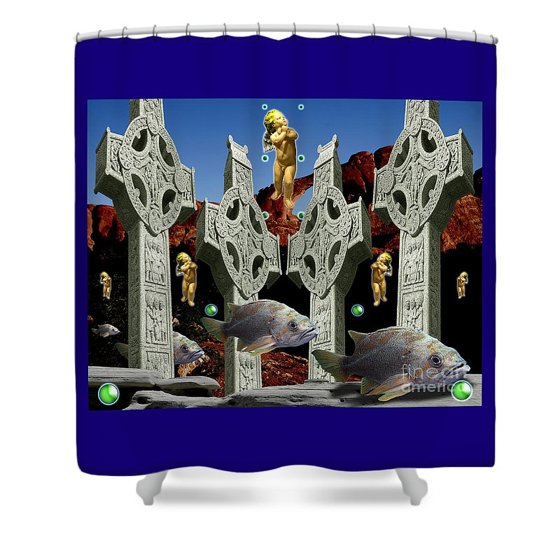 Landscape Shower Curtain featuring the digital art Celtic Valley by Keith Dillon