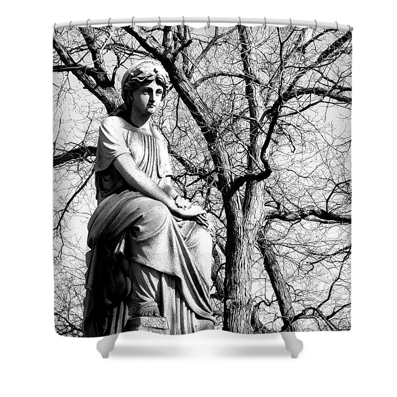 Cemetary Shower Curtain featuring the photograph Cemetary Statue B-w by Anita Burgermeister