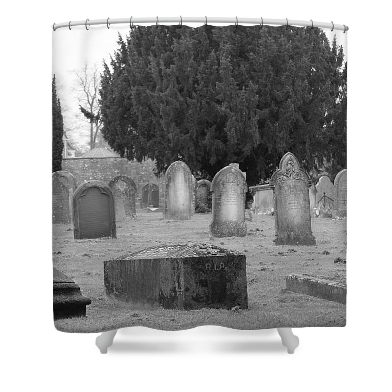 Cemetery Shower Curtain featuring the photograph Cemetery Church Of St. Mary Wedmore by Lauri Novak