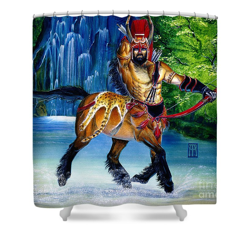Centaur Shower Curtain featuring the painting Centaur In Waterfall by Melissa A Benson