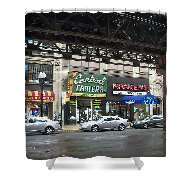 Chicago Shower Curtain featuring the photograph Central Camera On Wabash Ave by Anita Burgermeister