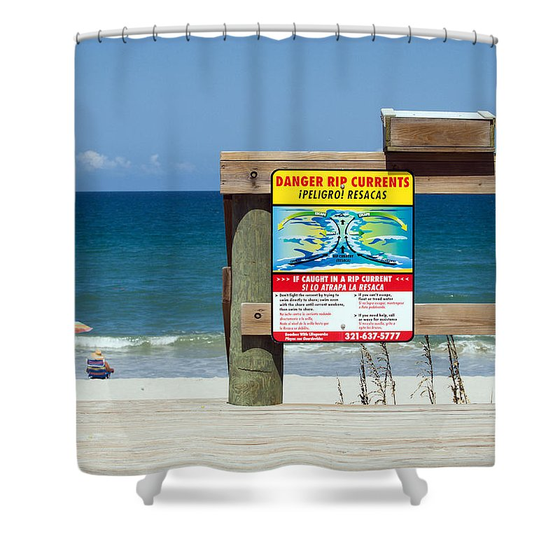 Florida; Beach; Surf; Surfing; Shore; Coast; Sand; Sandy; Waves; Summer; Central; Melbourne; Rip; Cu Shower Curtain featuring the photograph Central Florida Beach Warning by Allan Hughes