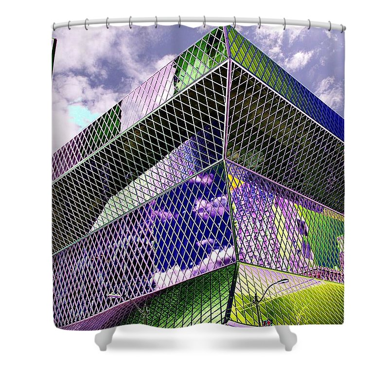 Seattle Shower Curtain featuring the digital art Central Library Seattle by Tim Allen