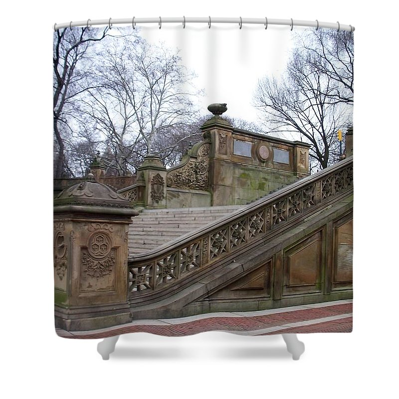 Central Park Shower Curtain featuring the photograph Central Park Bethesda 1 by Anita Burgermeister