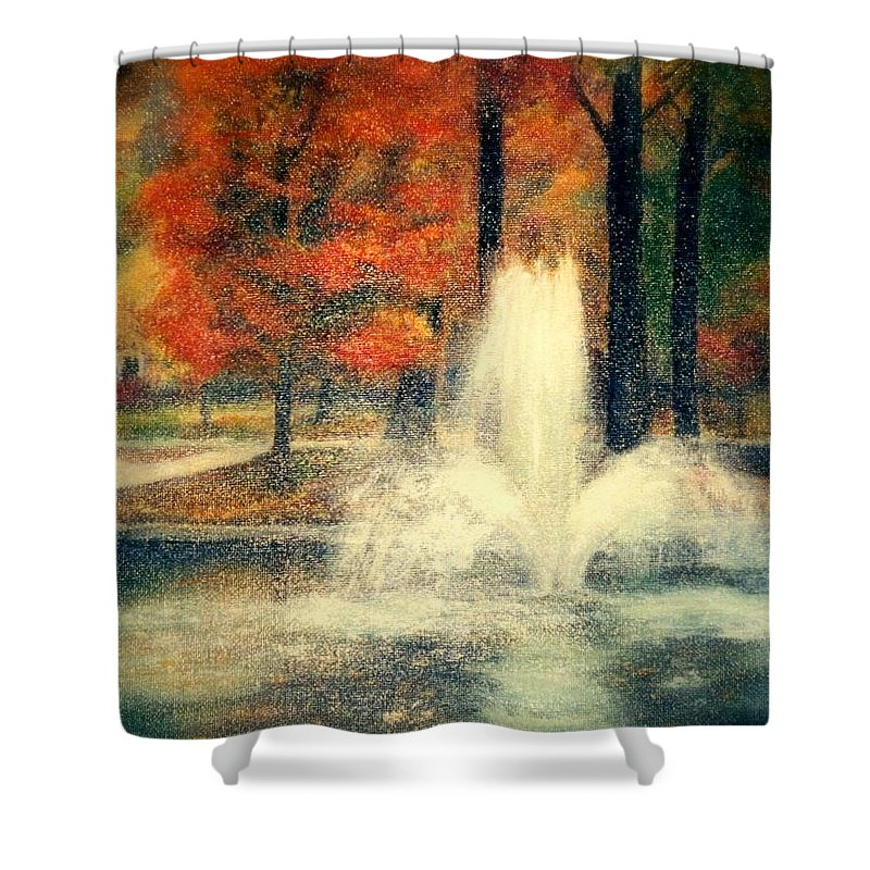 Pond Shower Curtain featuring the painting Central Park In Autumn by Gail Kirtz