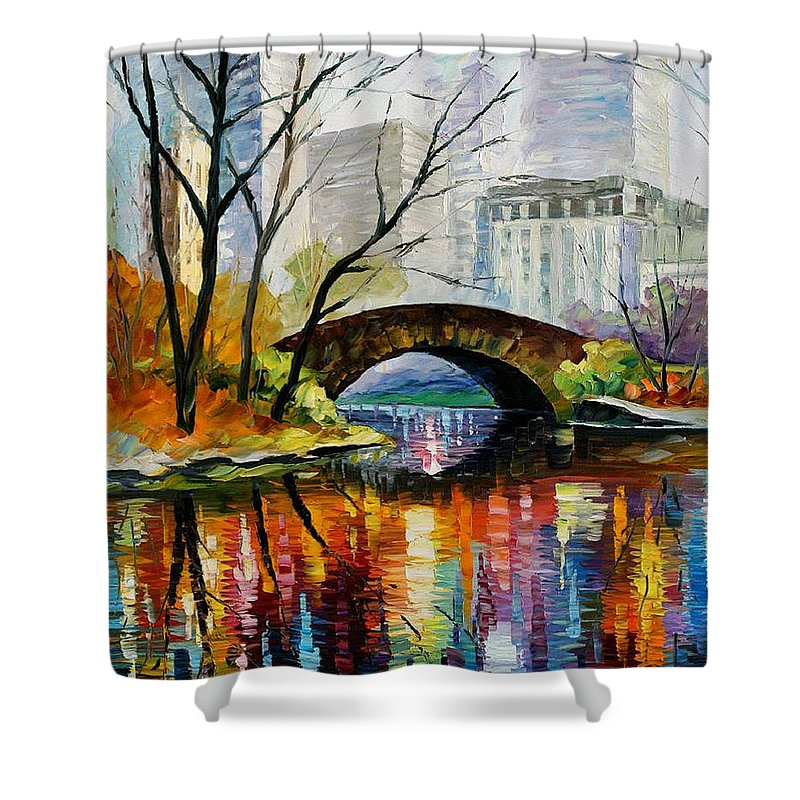 Landscape Shower Curtain featuring the painting Central Park by Leonid Afremov