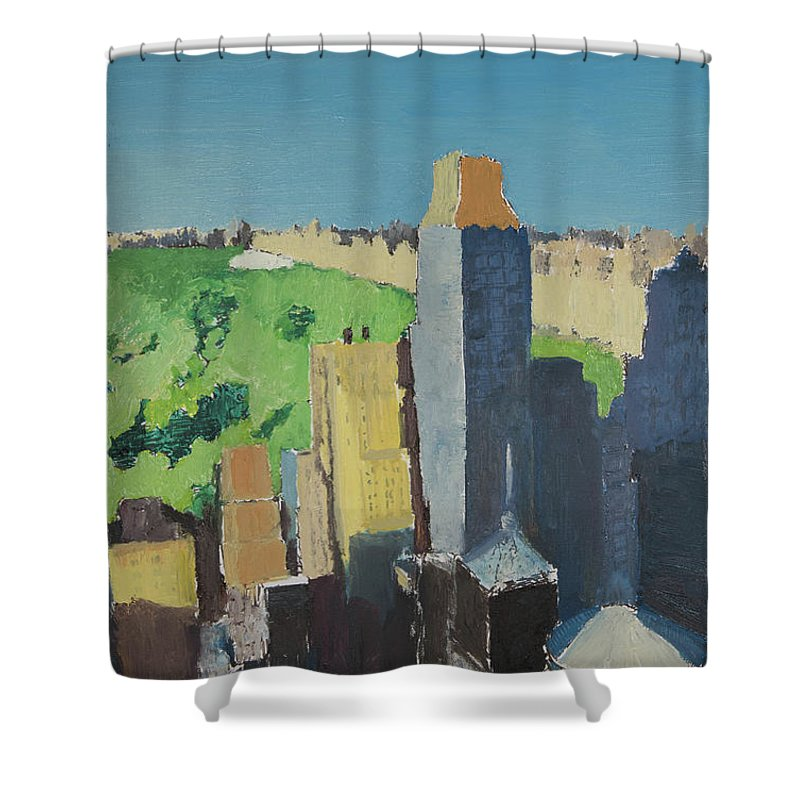 New York Shower Curtain featuring the painting Central Park Nyc by Craig Newland