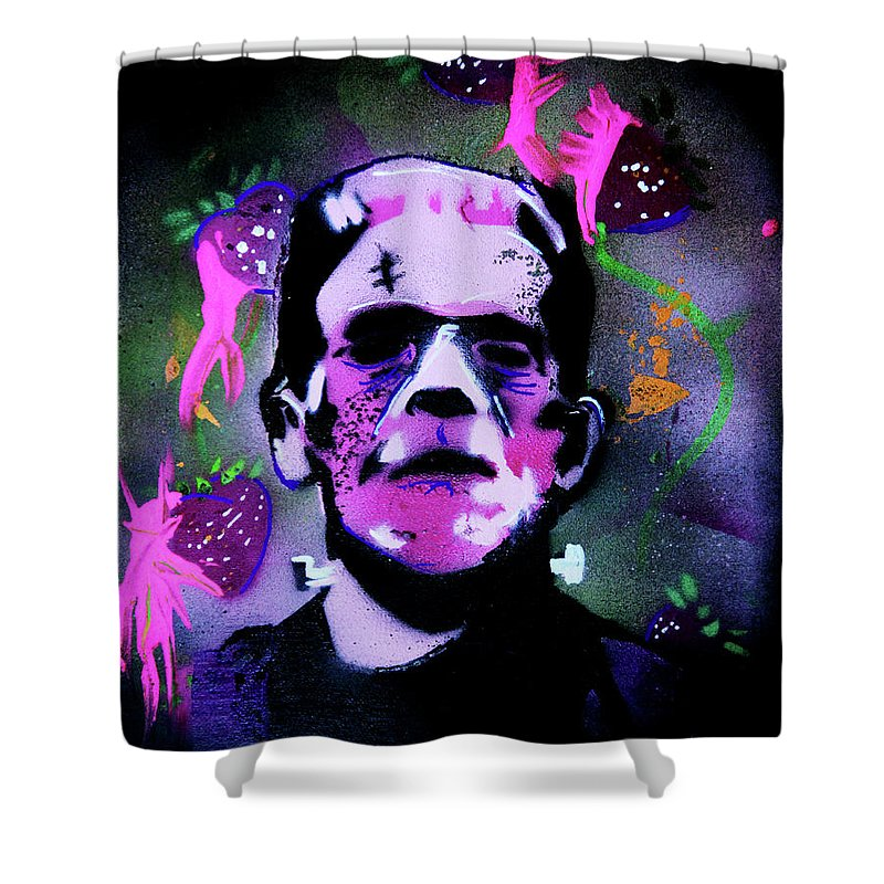 Cereal Killers Shower Curtain featuring the painting Cereal Killers - Frankenberry by eVol i