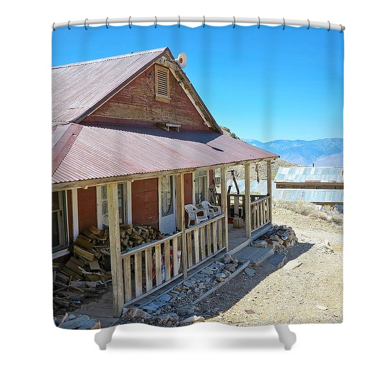 4x4 Shower Curtain featuring the photograph Cerro Gordo Beaudry House by Backcountry Explorers