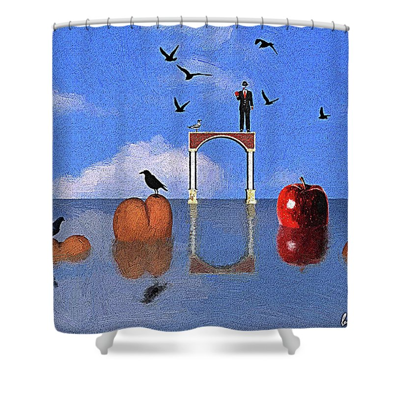 Surrealism Shower Curtain featuring the digital art Ceux Ci Ne Sont Pas Des Culs by Silvano Franzi