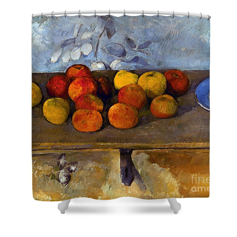1880 Shower Curtain featuring the photograph Cezanne: Apples & Biscuits by Granger