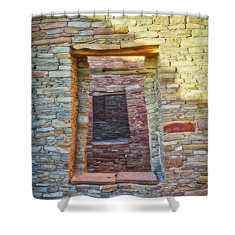 Chaco Shower Curtain featuring the photograph Chaco Canyon Windows by Steven Ralser